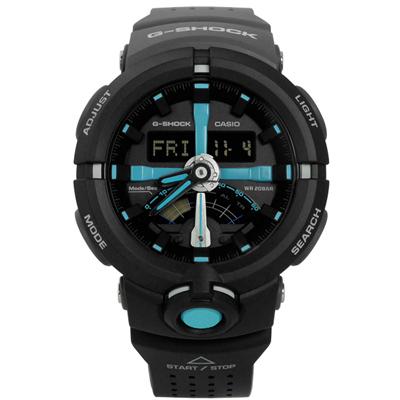 G-SHOCK 多層次前衛城市世界雙色橡膠手錶(GA-500P-1A)-黑色/48mm