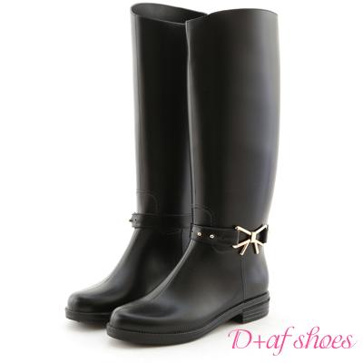D+AF 典雅造型‧蝴蝶結金飾2way長筒雨靴*黑