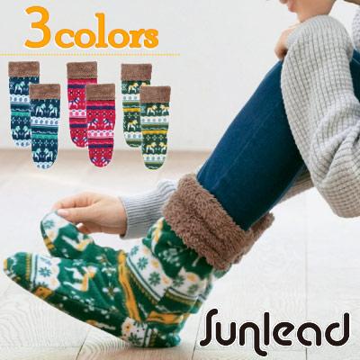 Sunlead 經典北歐圖紋防寒刷毛暖腳套