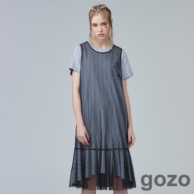 gozo迷幻網紗背心魚尾裙(黑色)-動態show