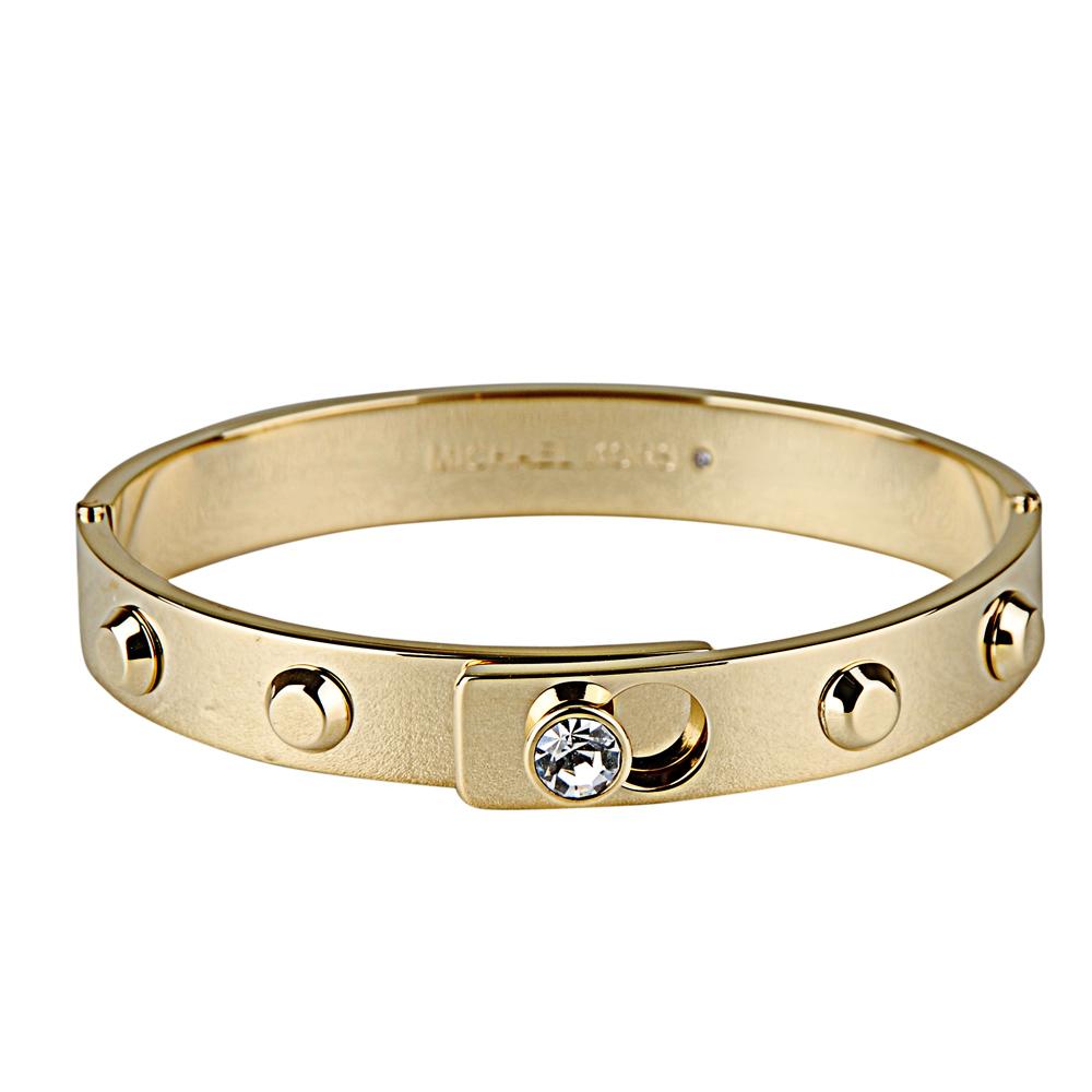 Michael Kors 低調奢華白鑽鉚釘扣式手環(金色)