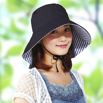 【Sunlead】防吹落寬緣款。雙色護頸透氣抗UV寬圓頂防曬遮陽帽 (黑色/條紋)