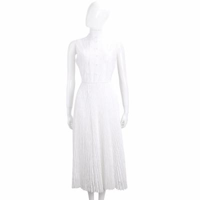 ERMANNO SCERVINO 白色拼接百褶蕾絲裙無袖洋裝