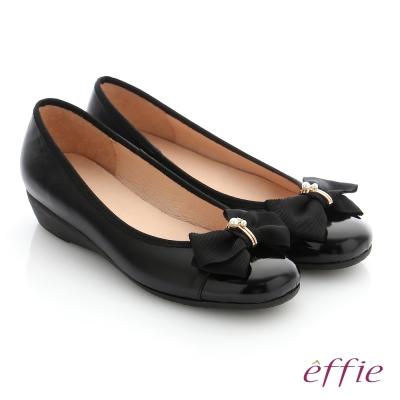 effie 舒適通勤 真皮蝴蝶結彈力圓頭低跟鞋 黑色