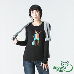 【SNOWFOX 雪狐】新銳插畫家劉經瑋聯名圖T恤女款長袖ATL-81652W黑