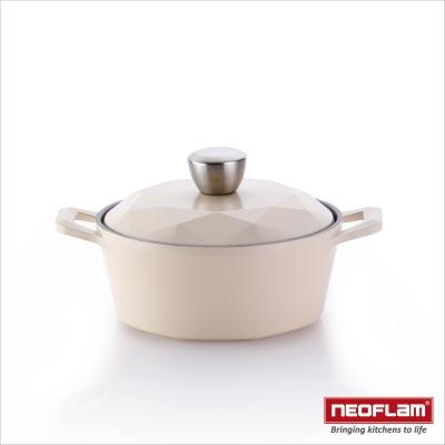 韓國NEOFLAM Carat系列 20cm陶瓷不沾湯鍋+陶瓷塗層鍋蓋(鑽石鍋)