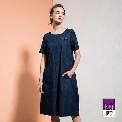 ILEY伊蕾 輕薄牛仔拼接造型長版洋裝(藍)