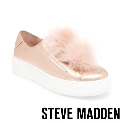 STEVE MADDEN-BREEZE 毛絨厚底懶人鞋-玫瑰金