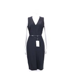 Max Mara 深藍色V領羊毛無袖洋裝(97%WOOL/附腰帶)