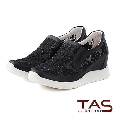 TAS-透膚小花蕾絲混搭水鑽內增高休閒鞋-華麗黑