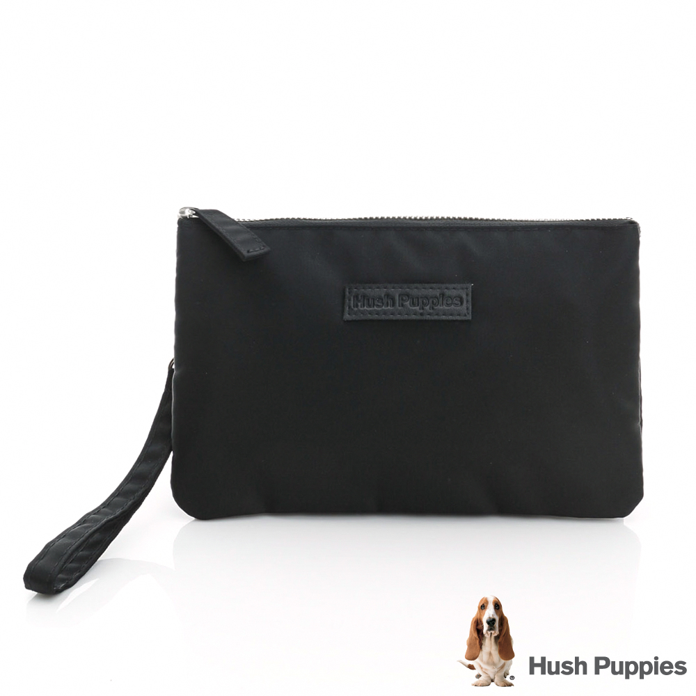 Hush Puppies 簡約輕尼龍手拿包-黑色