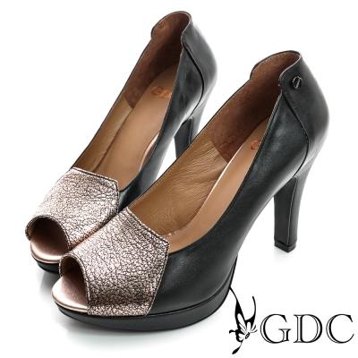 GDC都會-拼接撞色魚口真皮高跟鞋-黑色