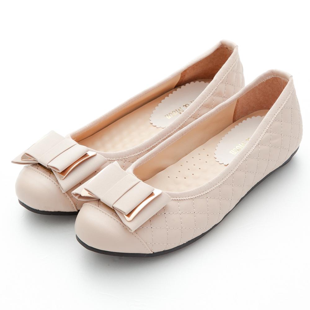 River&Moo台灣製氣質菱格紋緞帶金屬朵結豆豆娃娃鞋-裸膚粉