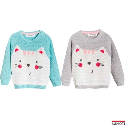 Minoti 英國 大貓臉圓領針織毛衣