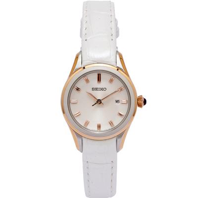 SEIKO 低調奢華風淑女手錶(SXDF70P1)-白面X玫瑰金色/28mm