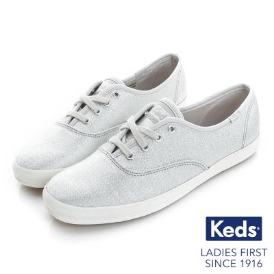 Keds 閃耀之星綁帶休閒鞋-銀色