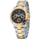 Kappa 穿越時空三眼不鏽鋼時尚腕錶-藍x金/40mm