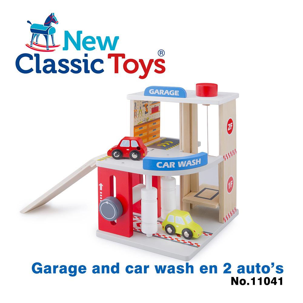 【荷蘭New Classic Toys】木製車車維修房玩具 - 11041