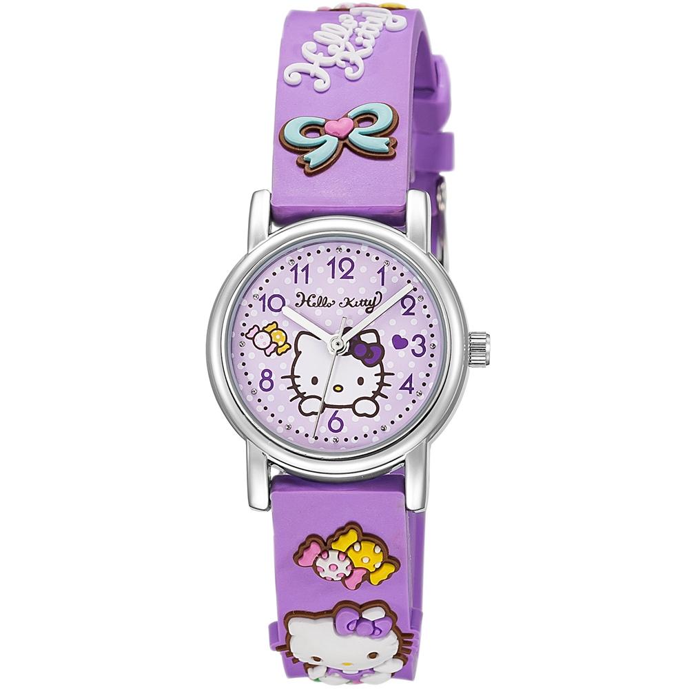 HELLO KITTY 凱蒂貓生動迷人立體圖案手錶-紫/27mm