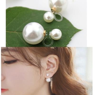 梨花HaN-無耳洞自然韓國經典熱銷雙面珍珠夾式耳環