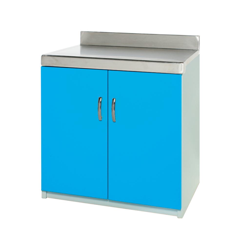 Bernice-防潮防蛀塑鋼平檯/櫥櫃 (藍白)