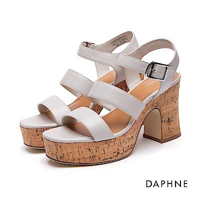 達芙妮DAPHNE 涼鞋-魚骨寬帶繞踝高跟厚底涼鞋-米白