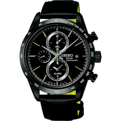SEIKO SPIRIT 太陽能鬧鈴兩地時間計時腕錶(SBPY129G)-黑/41mm