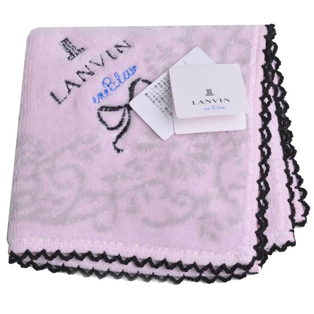 LANVIN en bleu 可愛蝴蝶結品牌字母LOGO刺繡滾邊小方巾(粉紅)