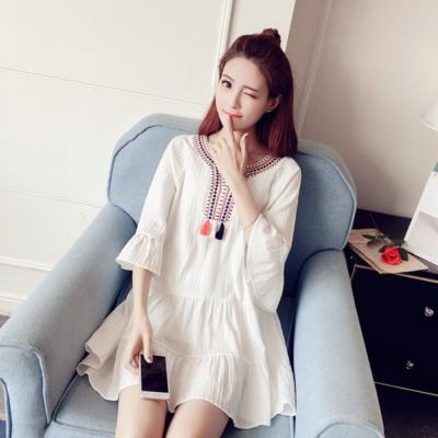 La Belleza前胸彩色流蘇綴飾織紋刺繡棉麻蛋糕洋裝