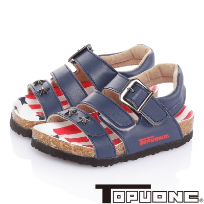 TOPUONE 美國風腳床型減壓吸震休閒涼鞋童鞋-藍