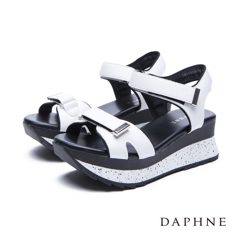 達芙妮DAPHNE涼鞋-魔鬼氈撞色潑墨厚底涼鞋-白