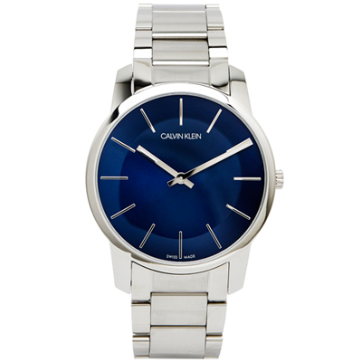 CK Calvin Klein  City 沁藍城市寧靜男性手錶-藍/43mm