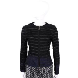CLASS roberto cavalli 黑x藍色條紋麂皮拼接鍊外套