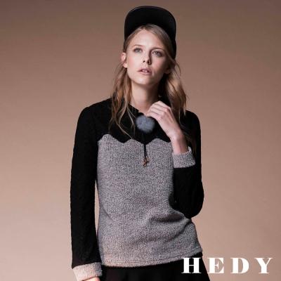 Hedy赫蒂 毛球蕾絲拼接刷毛上衣(灰色)