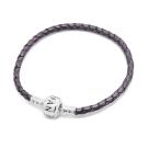 Pandora 潘朵拉 925純銀開扣式皮革皮繩手鍊手環 鐵灰紫