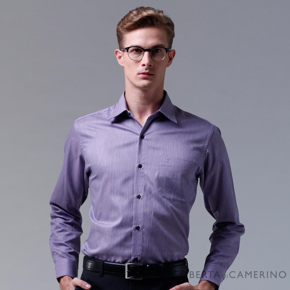 ROBERTA諾貝達 台灣製 合身版 細條紋長袖襯衫 紫色