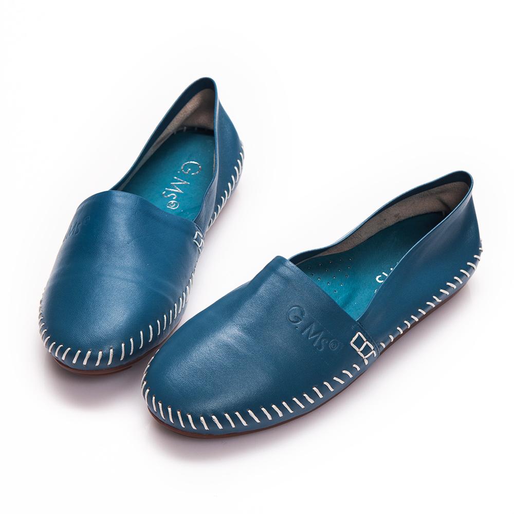 G.Ms.  超柔軟綿羊皮圓頭豆豆懶人休閒鞋-藍色
