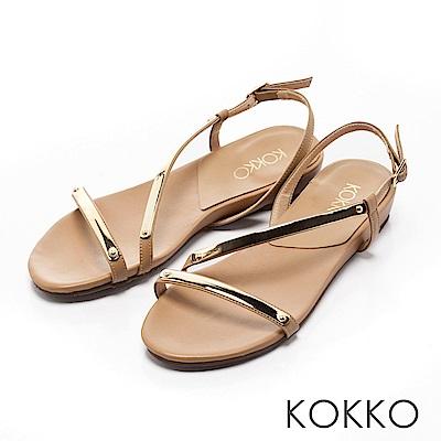 KOKKO~柔美曲線金屬光真皮平底涼鞋~ 棕
