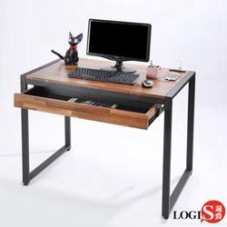 LOGIS  耐磨工業風桌面附插座工作桌辦公桌 電腦桌 (長98寬60x高77CM)