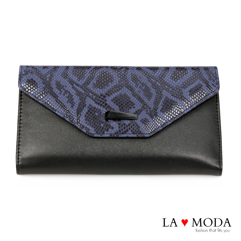 La Moda 設計感滿點~頭層真牛皮蛇紋壓紋薄型長夾(藍)