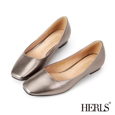 HERLS 內真皮 神秘銀河金屬感平底鞋-銀色