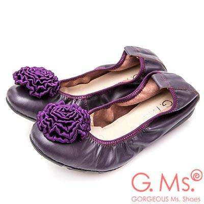 G.Ms. 手工芍藥緞花牛皮彎折娃娃鞋-深紫