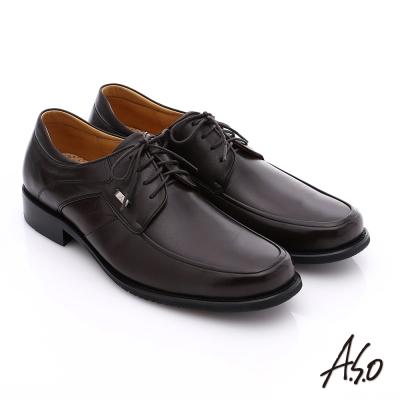 A.S.O 勁步雙核心 全真皮綁帶奈米紳士皮鞋 咖啡色
