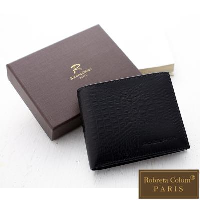 Roberta Colum - 牛皮鱷魚紋可拆式左右翻卡片夾短夾-黑色