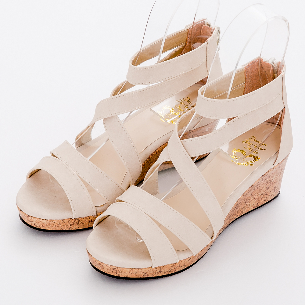 River&Moon涼鞋-台灣製線條羅馬楔型涼鞋-米