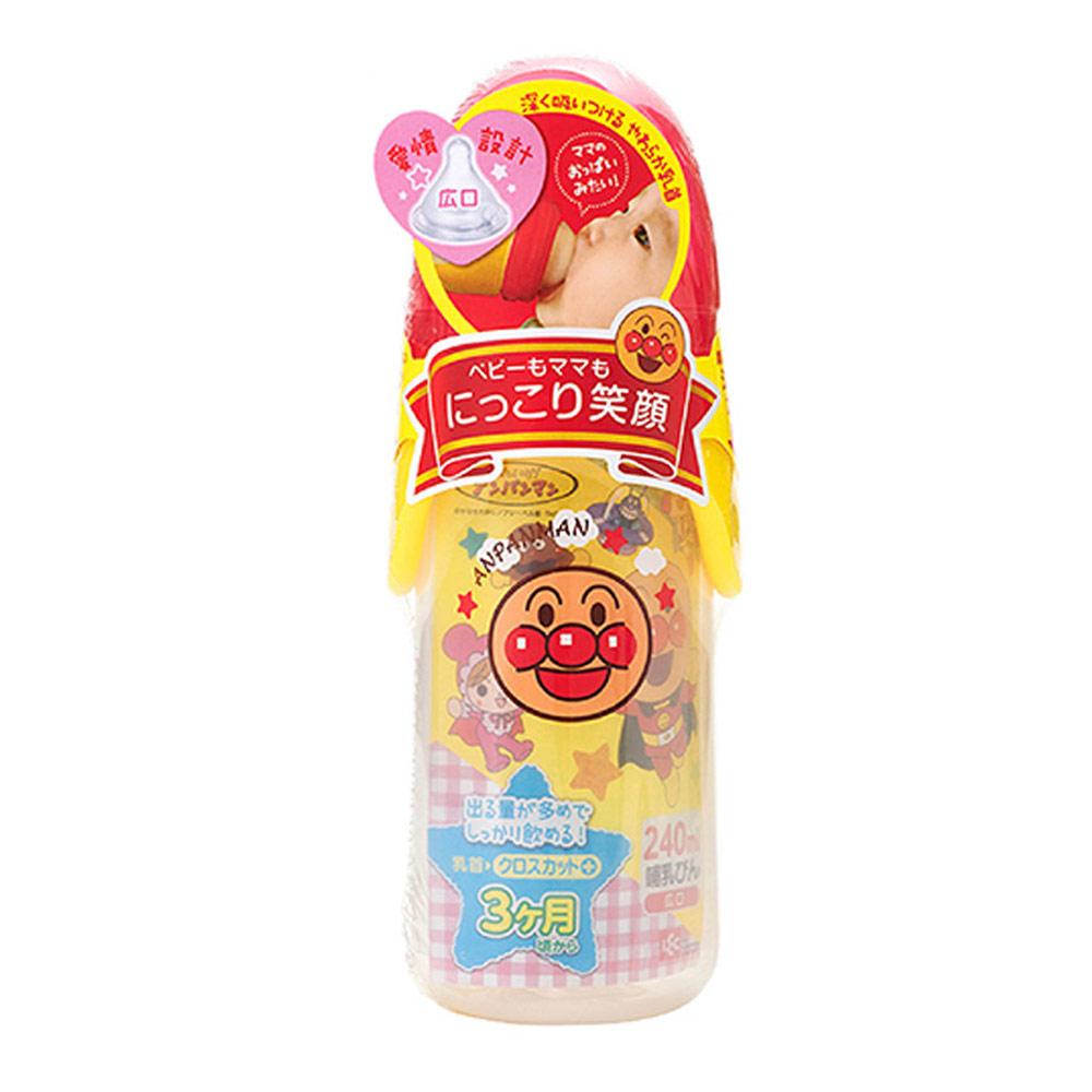 麵包超人-AN麵包超人寬口型奶瓶240ml-(十字孔)(3m+)