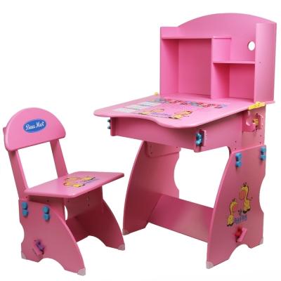 寶盟BAUMER 木質兒童升降成長書桌椅(桃粉紅)