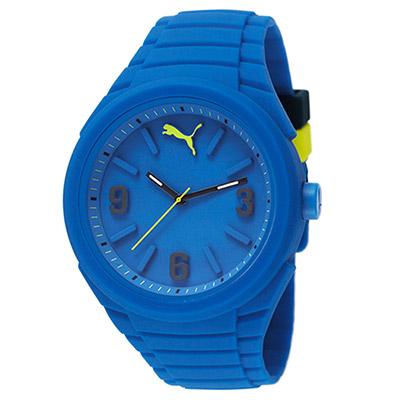 PUMA 足跡旅程 PU錶帶 運動電子腕錶-藍/45mm