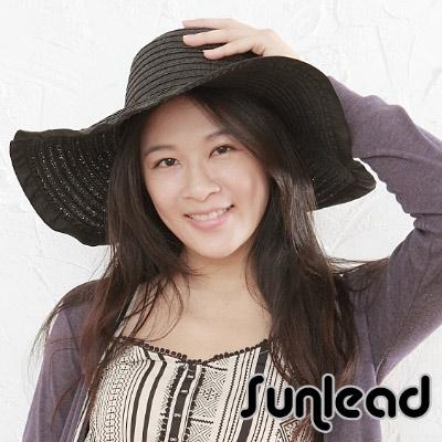 Sunlead 防曬寬帽緣。名模款抗UV時尚圓頂遮陽帽 (黑色)