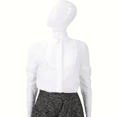 RED VALENTINO 白色荷葉滾邊點點設計長袖襯衫